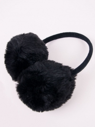 Nauszniki dziewczęce długie futro czarny
