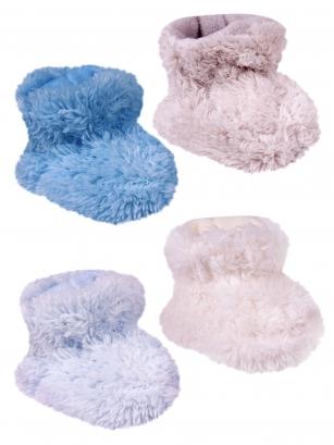Botki polarowe niemowlęce 6-12m chłopięce jasnoniebieski