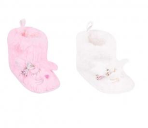 Botki polarowe niemowlęce 0-6m kotek jasnoróżowy