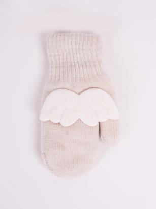 Rękawiczki dziewczęce jednopalcowe akrylowe z aplikacją 3D 14cm ecru