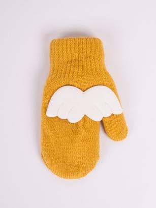 Rękawiczki dziewczęce jednopalcowe akrylowe z aplikacją 3D 14cm żółty