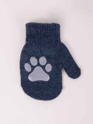 Rękawiczki jednopalcowe chłopięce akrylowe z odblaskiem 12cm grafit
