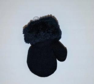 Rękawiczki chłopięce ze sznurkiem futerko 10cm czarny