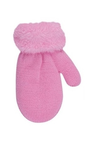 Rękawiczki dziewczęce ze sznurkiem futerko 10cm różowy