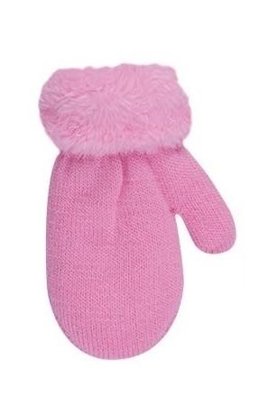 Rękawiczki dziewczęce ze sznurkiem futerko 12cm różowy