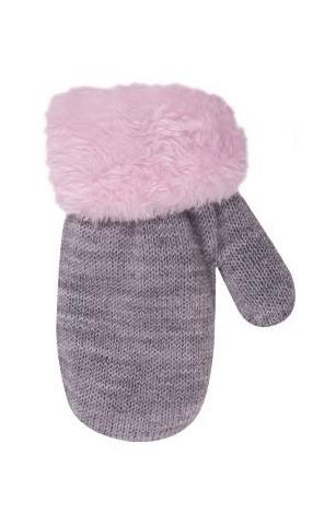 Rękawiczki dziewczęce ze sznurkiem futerko 12cm szary