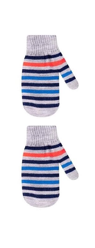 Rękawiczki chłopięce podwójne akrylowe w paseczki 18cm jasnoszary