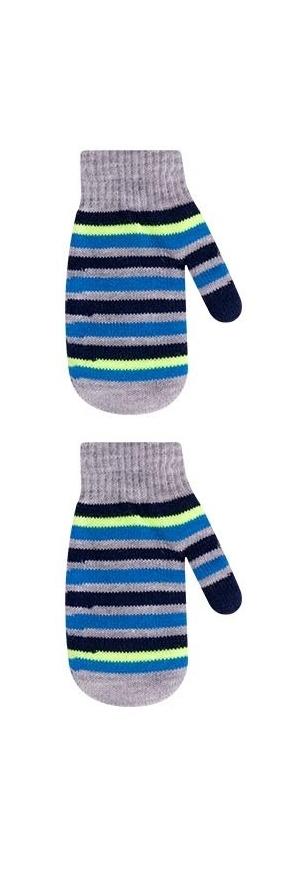 Rękawiczki chłopięce podwójne akrylowe w paseczki 18cm szary