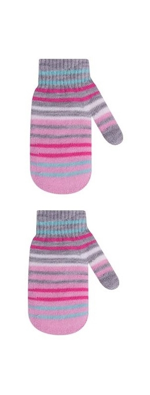 Rękawiczki dziewczęce podwójne akrylowe w paseczki 16cm szaro-różowy