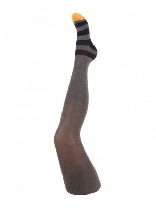 Rajstopy bawełniane chłopięce wzorzyste 128-134cm zielony paski