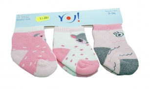 Skarpetki bawełniane niemowlęce 3-PAK <3m wzór zwierzątka