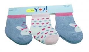 Skarpetki bawełniane niemowlęce 3-PAK <3m wzór serduszka