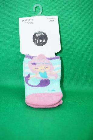 Skarpetki bawełniane frotte niemowlęce <3m wzór Syrenka
