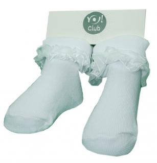 Skarpetki bawełniane niemowlęce z ozdobną falbanką 3-6m biały