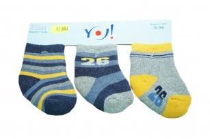 Skarpetki bawełniane niemowlęce 3-PAK 6-9m wzór paski i liczba