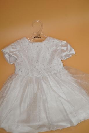 Sukienka do Chrztu brokat tiul satyna 80 biały