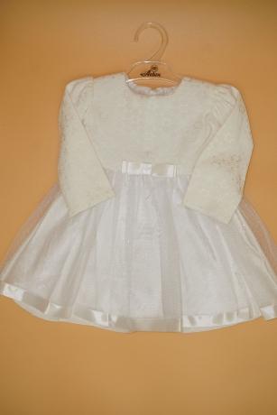 Sukienka do Chrztu satynowa wstążka 74 biały