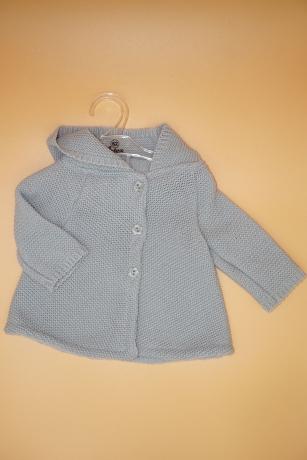 Sweterek Dziewczęcy 68 z kapturem szary