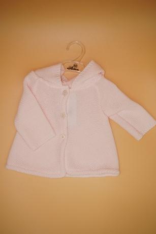 Sweterek Dziewczęcy 62 z kapturem jasnoróżowy