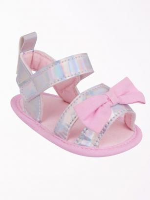Sandałki dziewczęce błysk 6-12 miesięcy srebrny