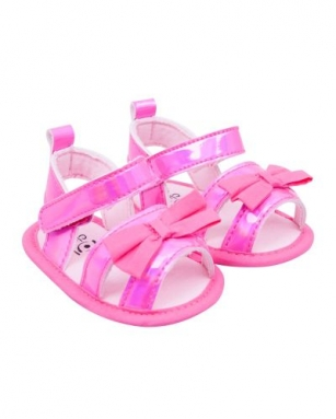 Sandałki dziewczęce błysk 0-6 miesięcy różowy