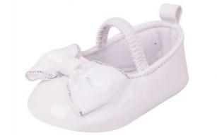 Buciki dziewczęce błyszczące z kokardą 0-6 miesięcy biały