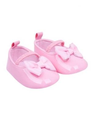 Buciki dziewczęce błyszczące z kokardą 0-6 miesięcy różowy