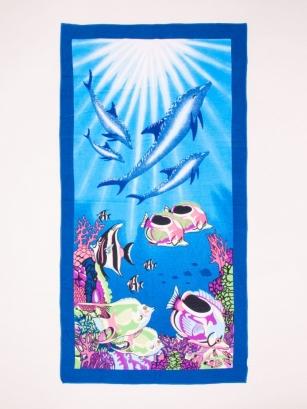Ręcznik plażowy prostokątny ryby i delfiny 70x140cm
