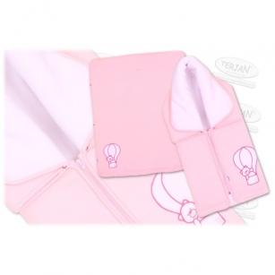 Kocyk wielofunkcyjny polarowy zamek różowy