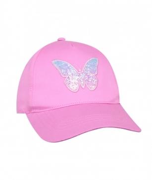 Czapka z daszkiem dziewczęca Motylek 56-58 różowy