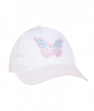 Czapka z daszkiem dziewczęca Motylek 56-58 biały