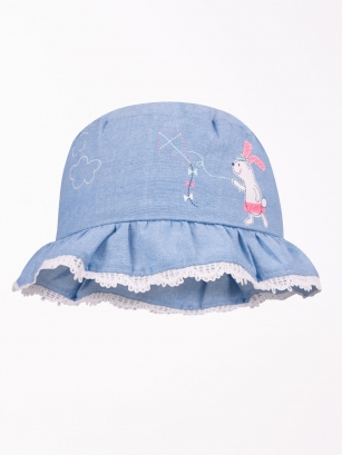 Kapelusz letni dziewczęcy Królik jasnoniebieski r.40cm