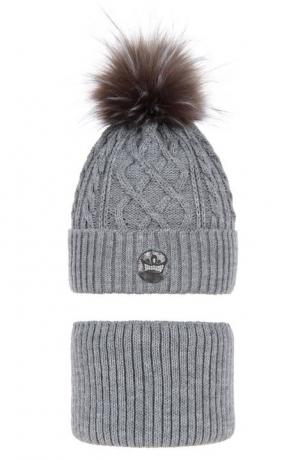 Komplet zimowy dziewczęcy - czapka i komin Antonina szary r.52-54cm