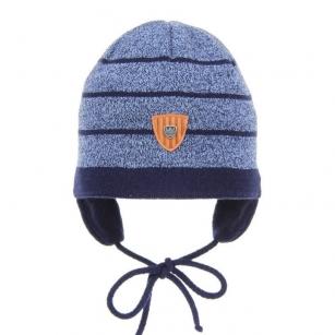 Wiązana czapka jesienna/wiosenna chłopięca Kuter niebieski paski r.48-50cm