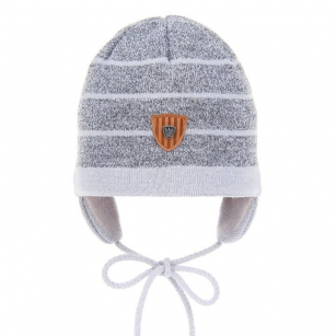 Wiązana czapka jesienna/wiosenna chłopięca Kuter szary paski r.48-50cm