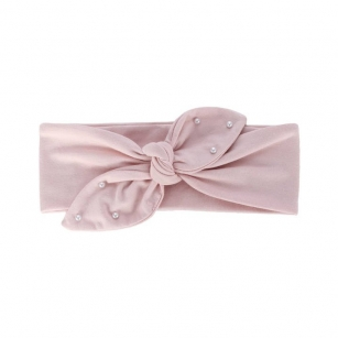 Opaska bawełniana z perełkami dziewczęca jesienna/wiosenna Helenka jasnoróżowy r.44-46cm