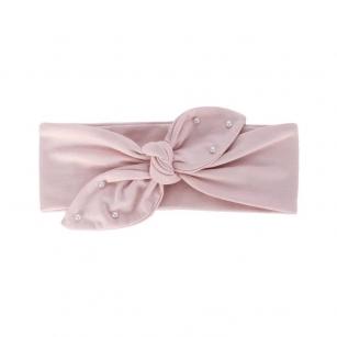 Opaska bawełniana z perełkami dziewczęca jesienna/wiosenna Helenka jasnoróżowy r.48-50cm