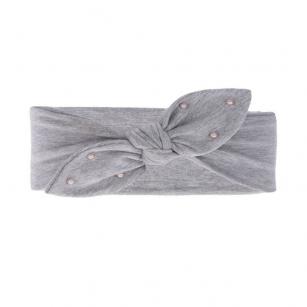 Opaska bawełniana z perełkami dziewczęca jesienna/wiosenna Helenka jasnoszary r.44-46cm