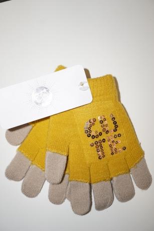 Rękawiczki dziewczęce akrylowe z cekinami 14cm żółty