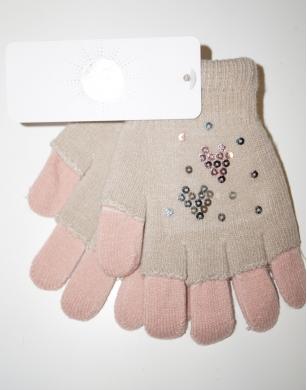 Rękawiczki dziewczęce akrylowe z cekinami 14cm beżowy