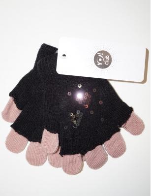 Rękawiczki dziewczęce akrylowe z cekinami 14cm czarny