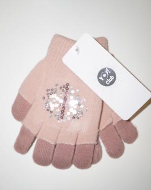 Rękawiczki dziewczęce akrylowe z cekinami 14cm jasnoróżowy