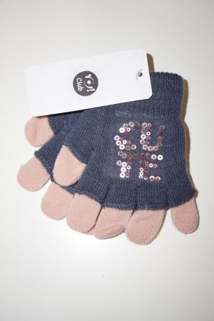 Rękawiczki dziewczęce akrylowe z cekinami 14cm granat