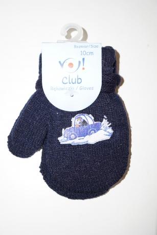 Rękawiczki chłopięce jednopalcowe 10cm czarny wzór auto