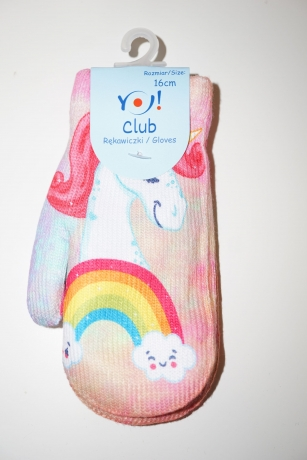 Rękawiczki dziewczęce jednopalcowe 16cm wzór Jednorożec Tęcza