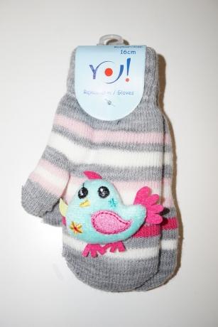 Rękawiczki dziewczęce jednopalcowe 16cm wzór paski ptaszek 3D