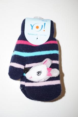 Rękawiczki dziewczęce jednopalcowe 16cm wzór paski myszka 3D