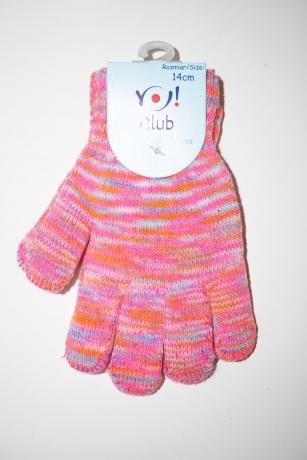 Rękawiczki dziewczęce akrylowe 14cm róż neon melanż paseczki