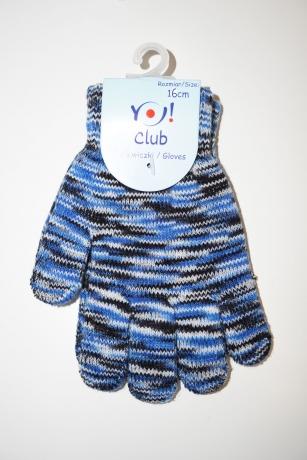 Rękawiczki dziewczęce akrylowe 16cm niebieski melanż paseczki