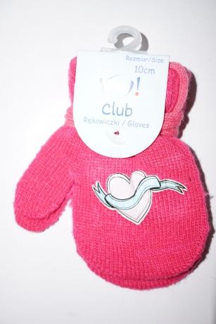 Rękawiczki dziewczęce jednopalcowe 10cm różowy wzór serce